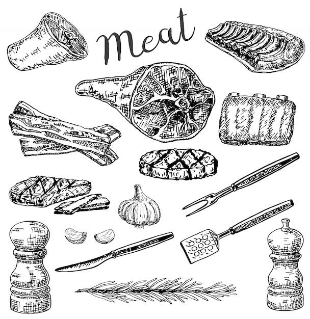 Conjunto de produtos de carne de estilo de desenho de mão desenhada de tinta Vetor Premium