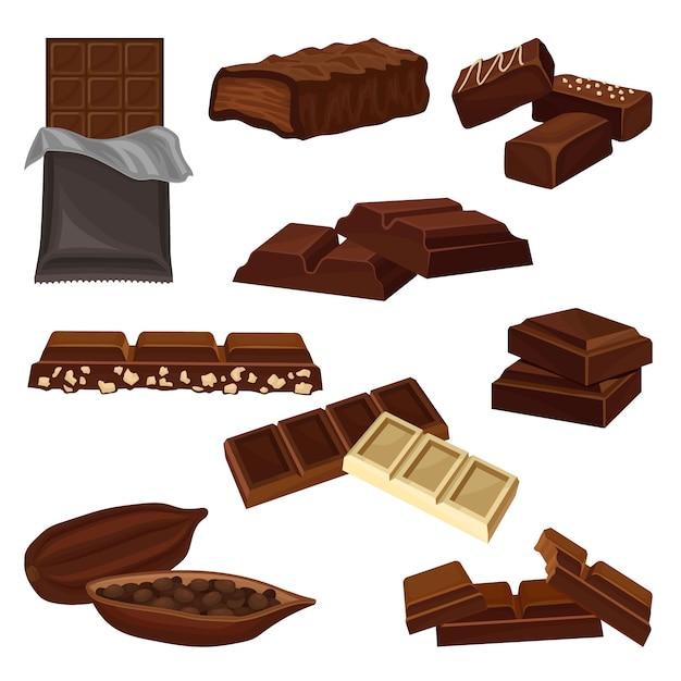 Conjunto de produtos de chocolate. doces, pedaços de barras e cacau cheio de sementes. comida doce. elementos para cartaz ou banner da loja de doces Vetor Premium