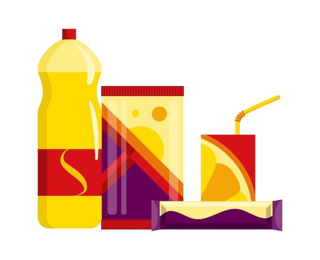 Conjunto de produtos de lanche. lanches de fast food, bebidas, sucos e barras de doces isoladas no fundo branco. Vetor Premium