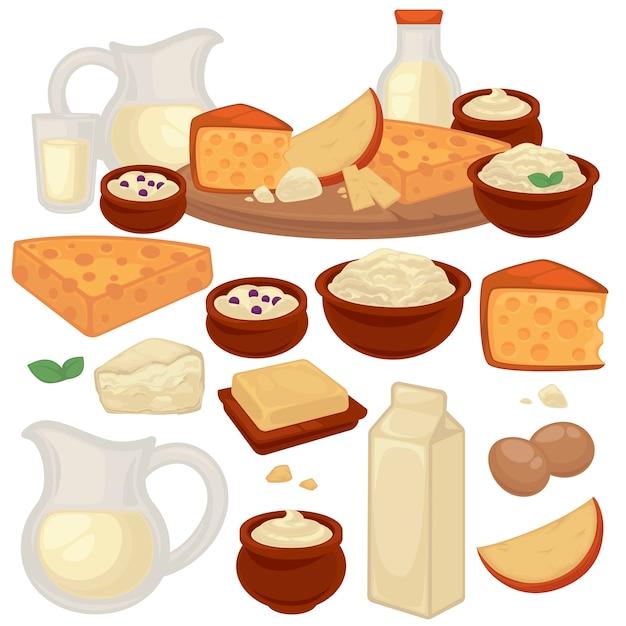 Conjunto de produtos lácteos saudáveis: leite, queijo cottage, manteiga, iogurte, creme de leite, ovos. Vetor Premium