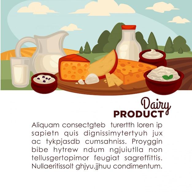Conjunto de produtos lácteos saudáveis. Vetor Premium