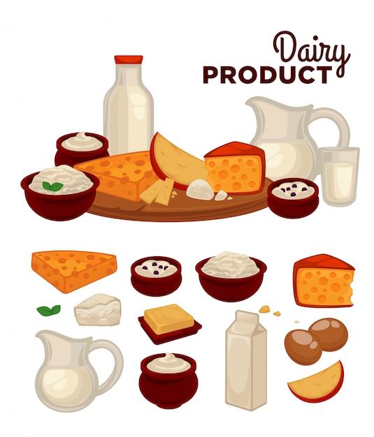 Conjunto de produtos lácteos saudáveis Vetor Premium