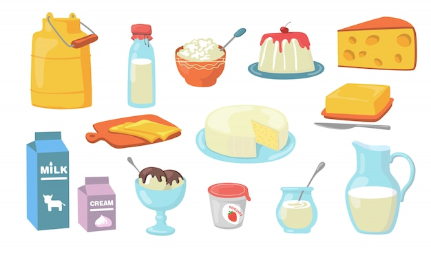 Conjunto de produtos lácteos Vetor grátis