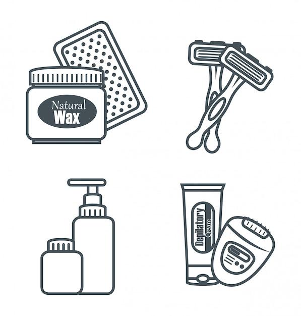 Conjunto de produtos para depilação Vetor grátis