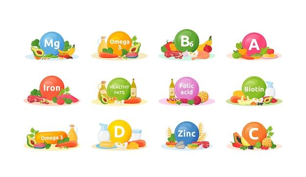 Conjunto de produtos ricos em vitaminas e minerais para a saúde dos desenhos animados. objeto de cor lisa de dieta equilibrada. vitamina a, b6, d. boa nutrição. alimentação saudável isolada no fundo branco Vetor Premium