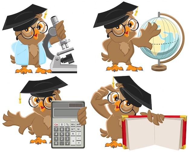 Conjunto de professores de corujas Vetor Premium