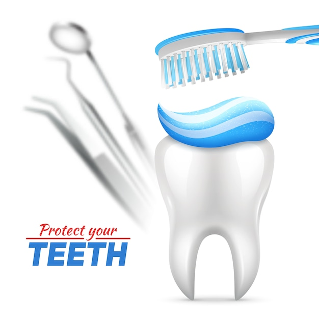 Conjunto de proteção de dentes com escova de dente e instrumentos odontológicos Vetor grátis