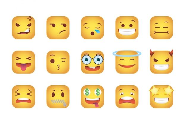 Conjunto de quadrados emoticons enfrenta caracteres Vetor grátis
