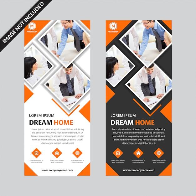 Conjunto de quadrados laranja modelo plana de negócios roll up banner Vetor Premium