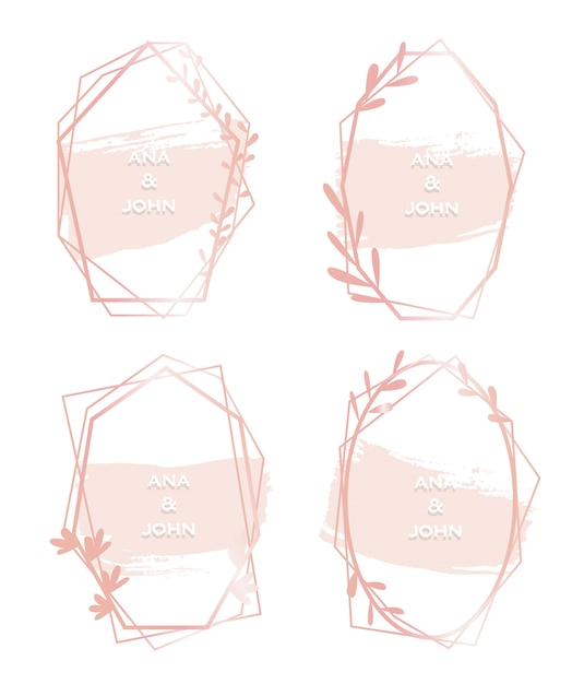 Conjunto de quadro de aquarela hexagonal rosa Vetor Premium