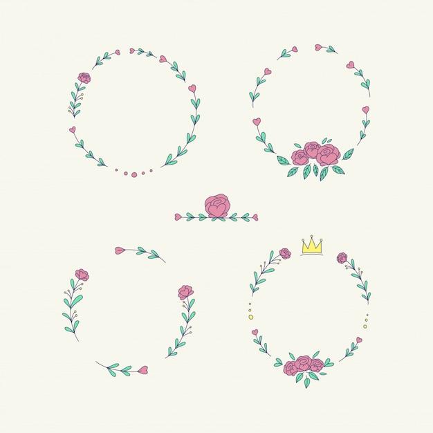 Conjunto de quadro de flores de grinalda Vetor Premium