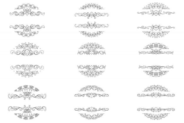 Conjunto de quadro de ornamento clássico de florescer arte de fronteira vintage decorativa Vetor Premium