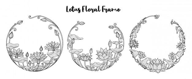 Conjunto de quadro floral redondo flor llotus Vetor Premium