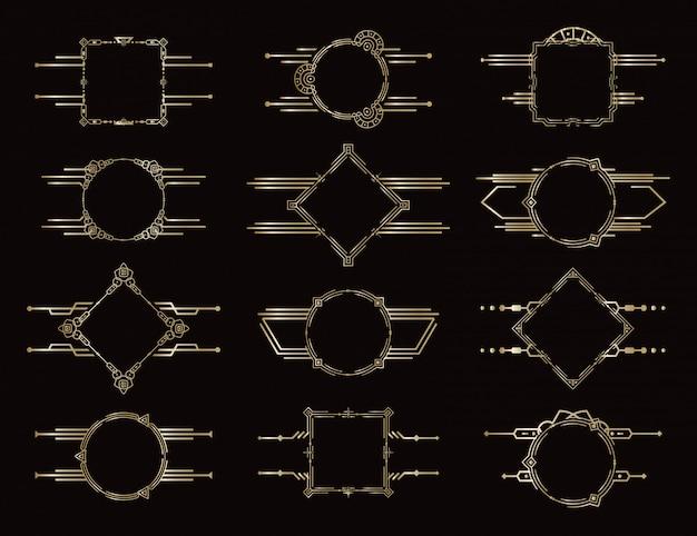 Conjunto de quadros. bordas geométricas douradas. elementos de decoração antiga vintage. elemento decorativo padrão. conjunto de molduras elegantes. Vetor Premium