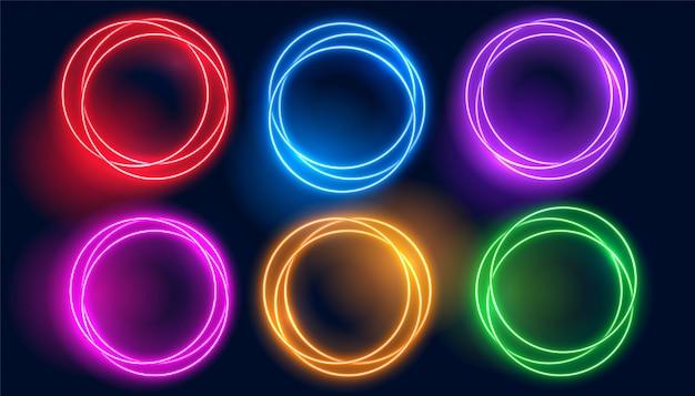 Conjunto de quadros brilhantes de círculo de néon colorido Vetor grátis