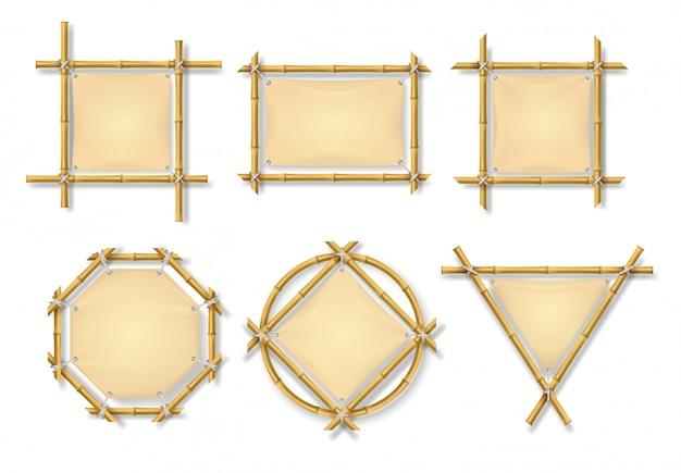 Conjunto de quadros de bambu Vetor Premium