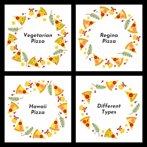 Conjunto de quadros de círculo. diferentes tipos de pizza de natal. Vetor Premium