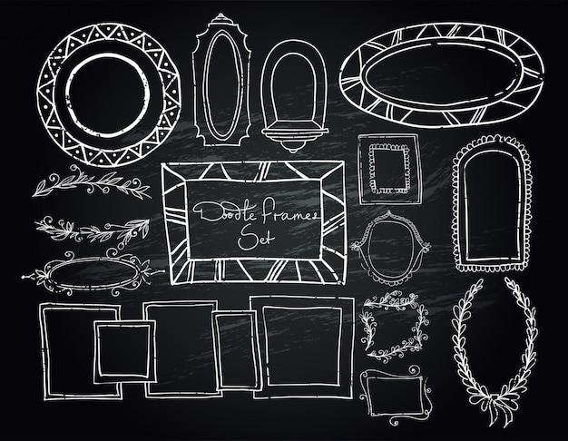 Conjunto de quadros de doodle de quadro-negro Vetor Premium