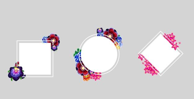 Conjunto de quadros de flores quadradas, losango, forma redonda Vetor Premium