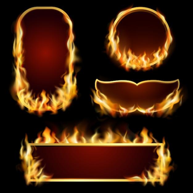 Conjunto de quadros de fogo Vetor grátis