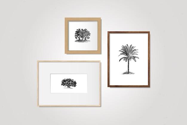 Conjunto de quadros de galeria Vetor grátis