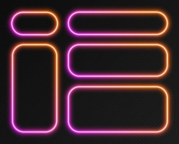 Conjunto de quadros de gradiente de néon, coleção de bordas de retângulo arredondado brilhante rosa-laranja isoladas em um fundo escuro. banners coloridos à noite, formas iluminadas brilhantes, efeito de luz de estilo retro. Vetor Premium