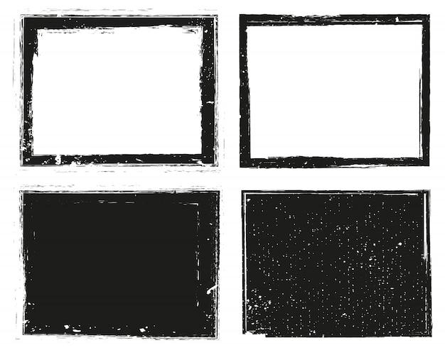 Conjunto de quadros de grunge Vetor Premium