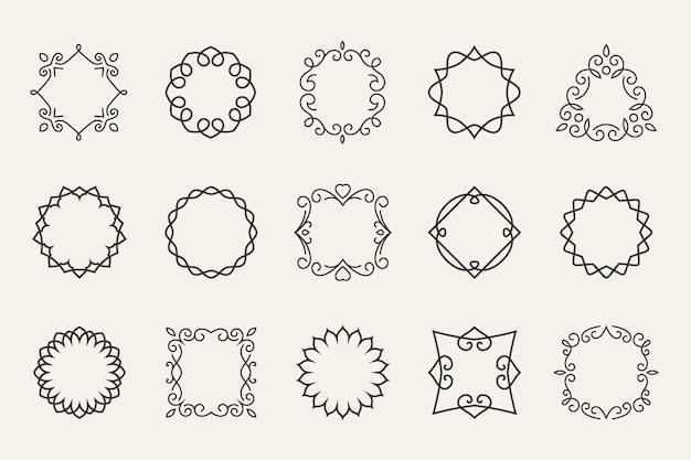 Conjunto de quadros de linha de vetor. contorno decorativo, forma de decoração, símbolo de contorno ou carimbo Vetor grátis