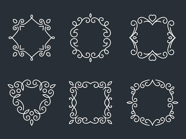 Conjunto de quadros de monograma de contorno. obra de arte e floral, moda e graciosa. Vetor grátis