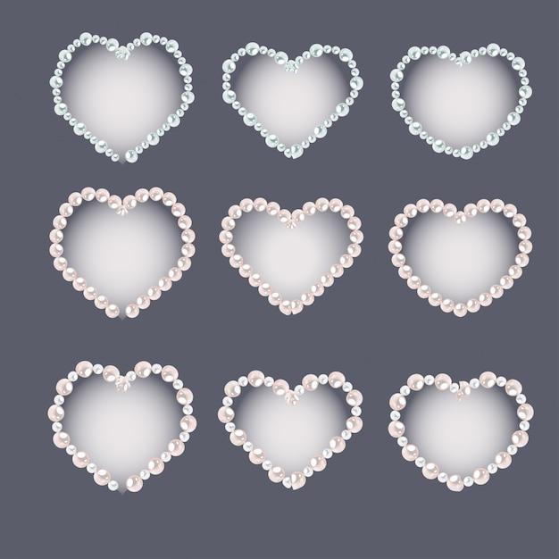 Conjunto de quadros de pérola em forma de coração isolado em cinza Vetor Premium