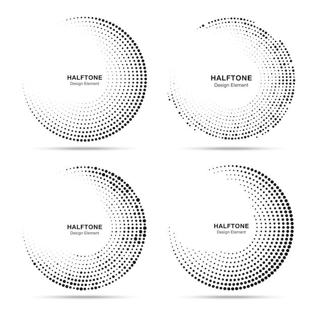 Conjunto de quadros de pontos de círculo de meio-tom. Vetor Premium
