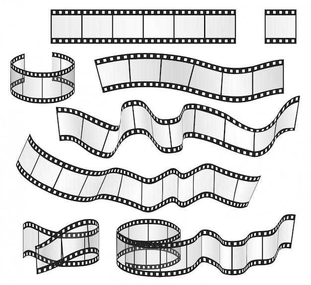 Conjunto de quadros de tiras de filme Vetor Premium