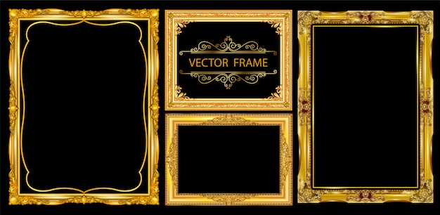 Conjunto de quadros decorativos vintage Vetor Premium