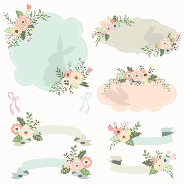Conjunto de quadros e fitas florais para a páscoa Vetor Premium