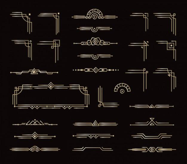 Conjunto de quadros elegantes divisores de borda e outros elementos decorativos geométricos. elementos gráficos do cartão dourado estilo vintage para decoração. design de estilo real isolado no fundo preto. Vetor Premium