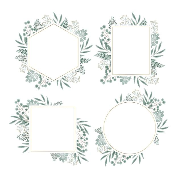 Conjunto de quadros florais desenhados à mão Vetor grátis