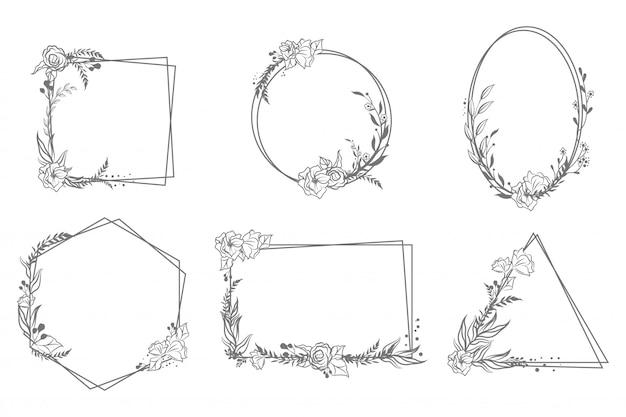 Conjunto de quadros geométricos florais desenhados à mão Vetor grátis