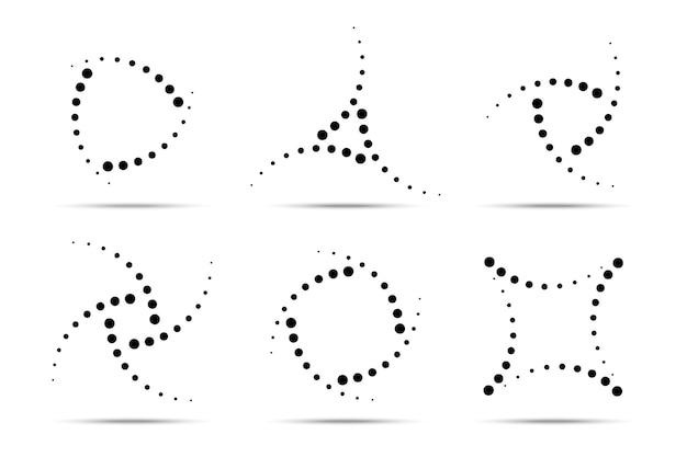 Conjunto de quadros pontilhados circulares de meio-tom. círculo de pontos Vetor Premium