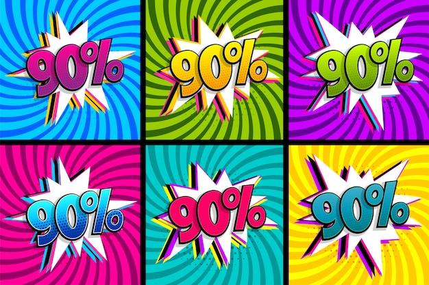 Conjunto de qualidade de 90 por cento do texto em quadrinhos. Vetor Premium