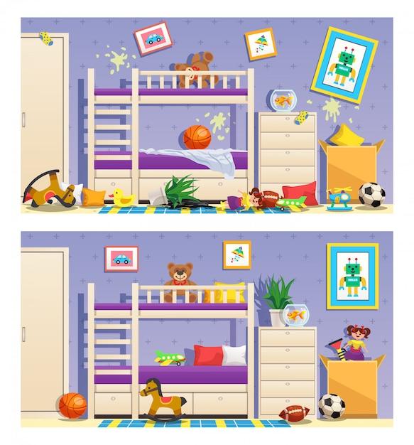 Conjunto de quarto limpo e bagunçado para crianças de banners com móveis e objetos de interior isolados Vetor grátis