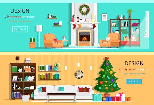 Conjunto de quartos coloridos de casa de design de interiores de natal com ícones de móveis. guirlanda de natal, árvore de natal, lareira. ilustração de estilo simples Vetor Premium