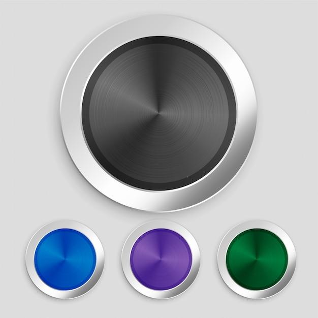 Conjunto de quatro botões metálicos escovados realistas Vetor grátis