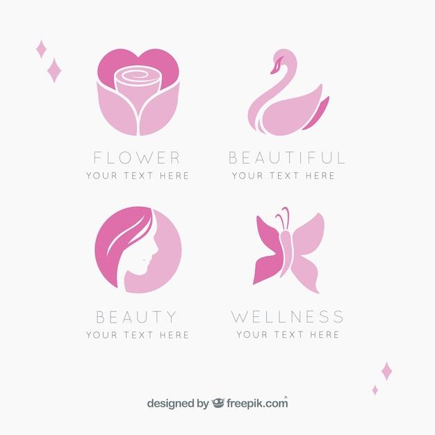 Conjunto de quatro centros de beleza logos Vetor Premium