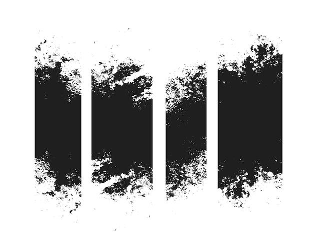 Conjunto de quatro faixas com textura de traço afiado e sujo Vetor grátis