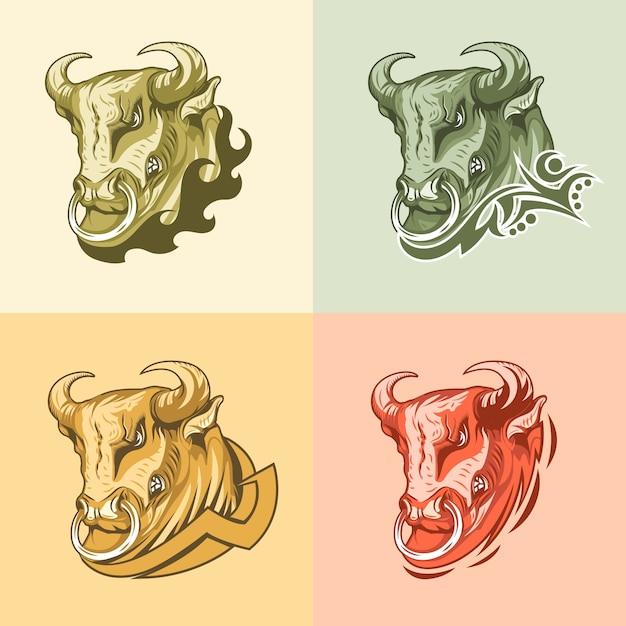 Conjunto de quatro imagens bull em diferentes origens. Vetor Premium