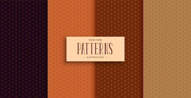 Conjunto de quatro padrões clássicos de cores étnicas Vetor grátis