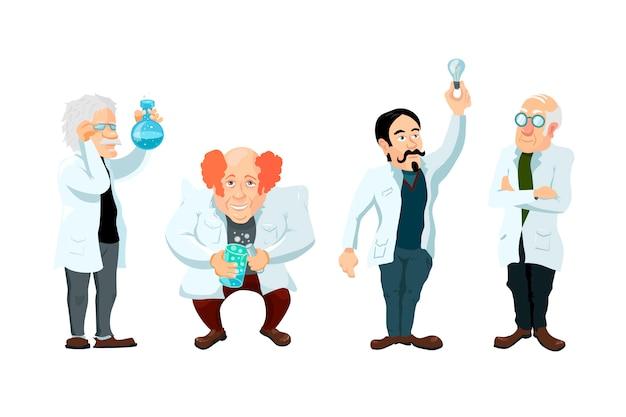 Conjunto de quatro personagens de cientistas bonito dos desenhos animados isolado Vetor Premium