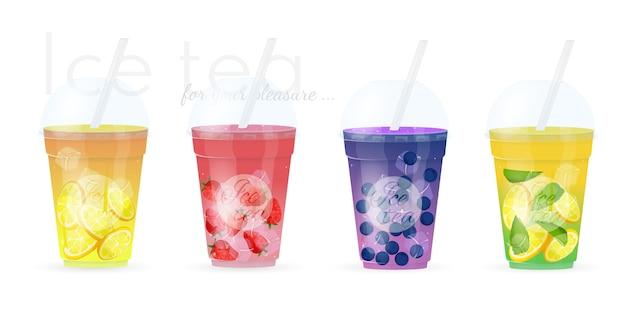 Conjunto de quatro sucos naturais de frutas Vetor Premium