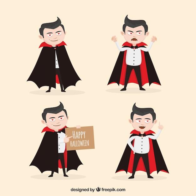Conjunto de quatro vampiros engraçados Vetor grátis