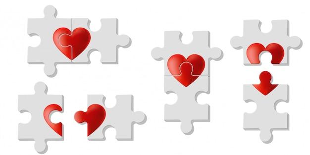 Conjunto de quebra-cabeças do coração representam amor Vetor Premium